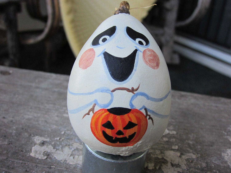 Hand Painted Ghost Halloween Gourd. $9.00, via Etsy.