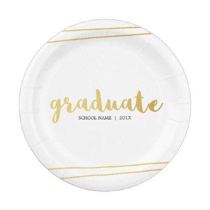 sc 1 st  Pinterest & Modern Gold u0026 White Graduate Paper Plates