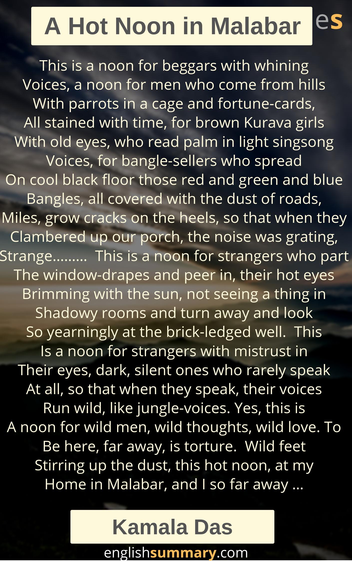 A Hot Noon In Malabar Poem By Kamala Da Literary Theory Morning The Sun Rising Theme