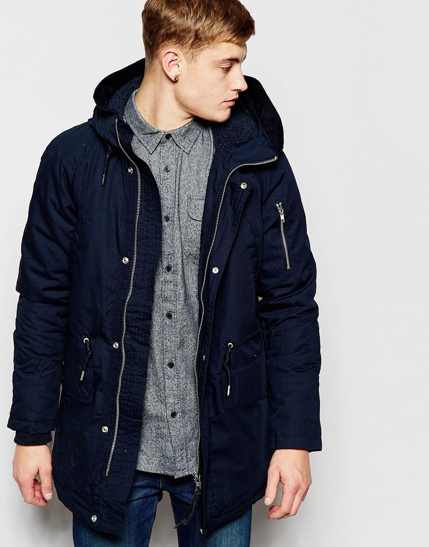 Pull&Bear Parka Jacket With Faux Shearling Hood In Navy | Style ...