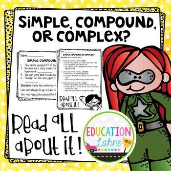 Simple, Compound, or Complex Sentences Handout by Education Lahne