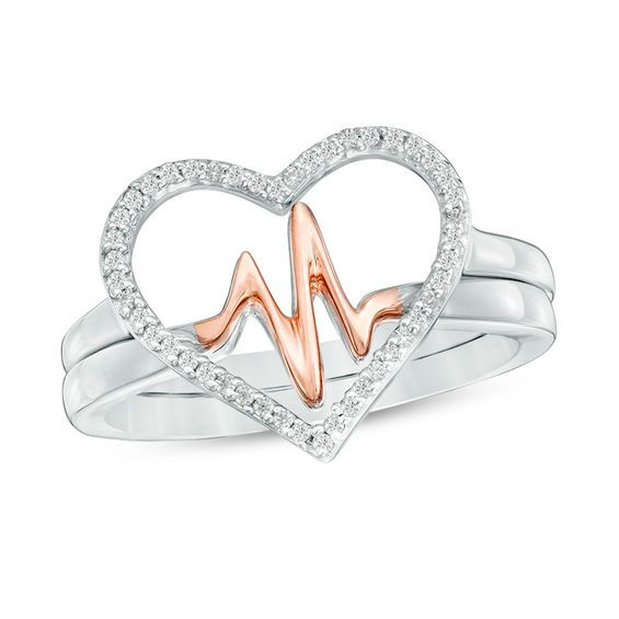 Zales 1/8 CT. T.w. Diamond Swirl Hearts Ring in Sterling Silver with 14K Rose Gold Plate FKxC0nYa5v