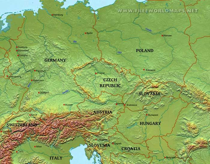 central europe physical map Central Europe map | Central europe, Europe, Europe map