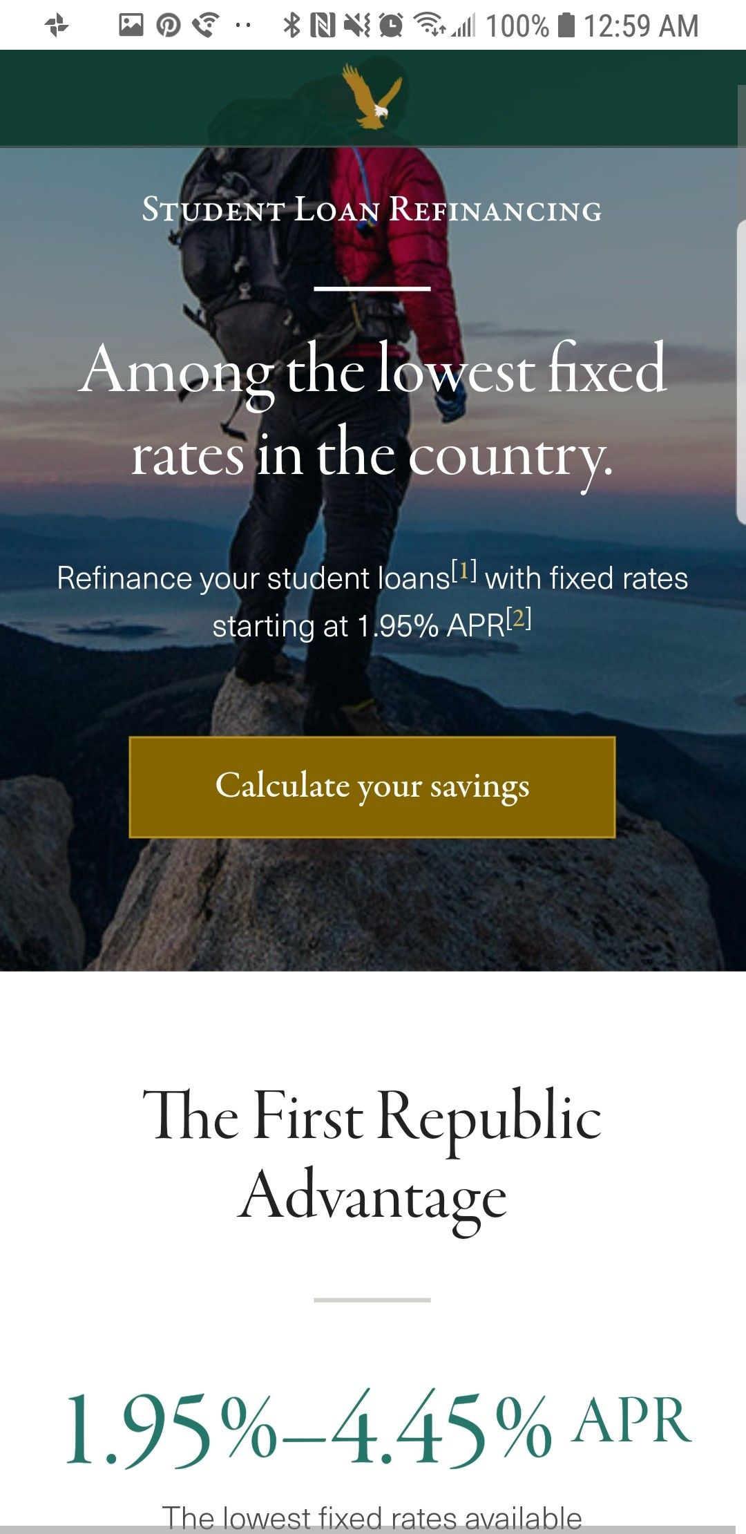1 95% is the lowest  Get a good interest rate here