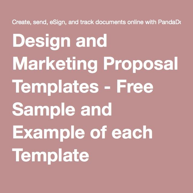 Design and Marketing Proposal Templates - Free Sample and Example of