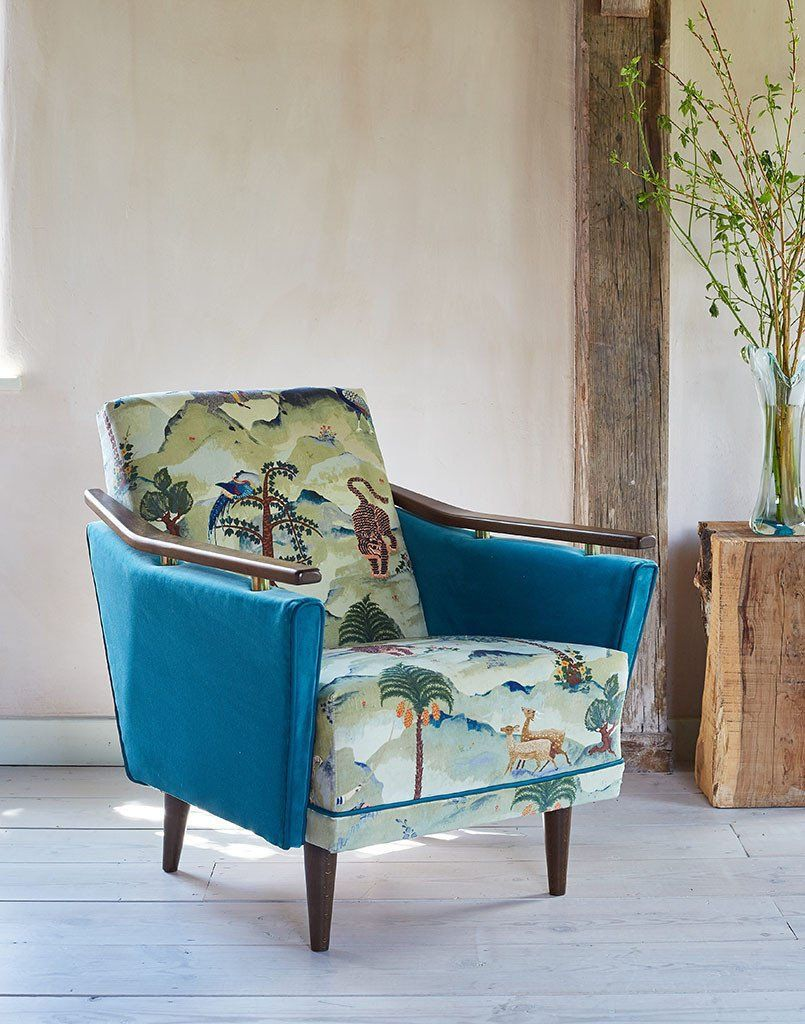 New Pinzon Armchair in Linwood Fable Aesop and Omega Velvet