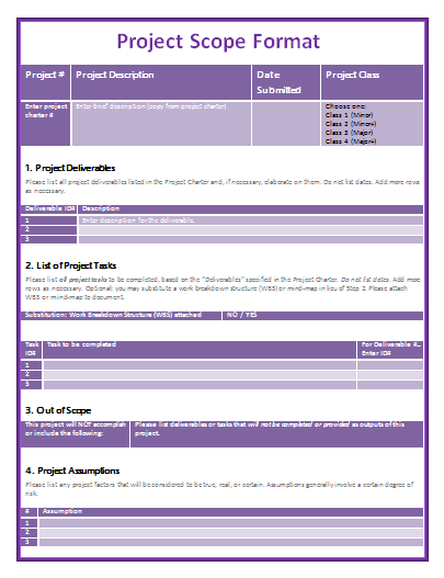 Project Scope Templates  Templates    Template And