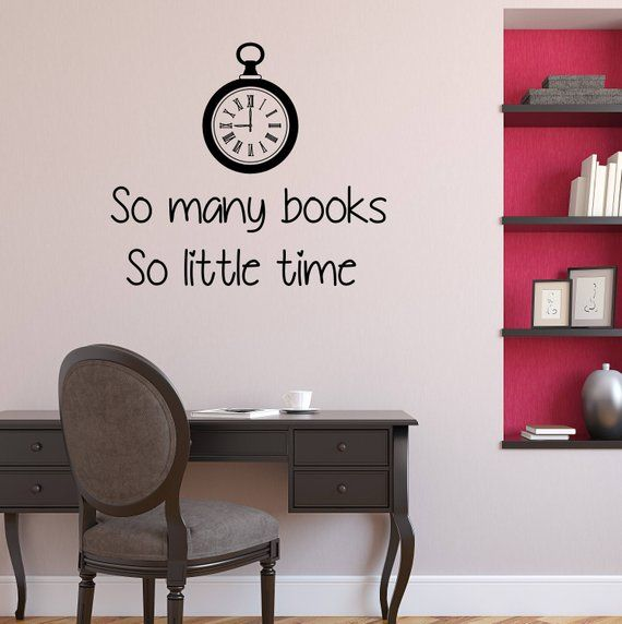wall decal vinyl sticker quote so many books little time reader