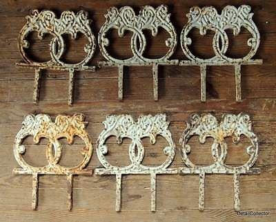 6 Antique Victorian Vtg Architectural Cast Iron Garden Edging