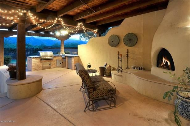 Pueblo Style Cabana Patio With Kiva Fireplace Patio Outdoor Fireplace Outdoor