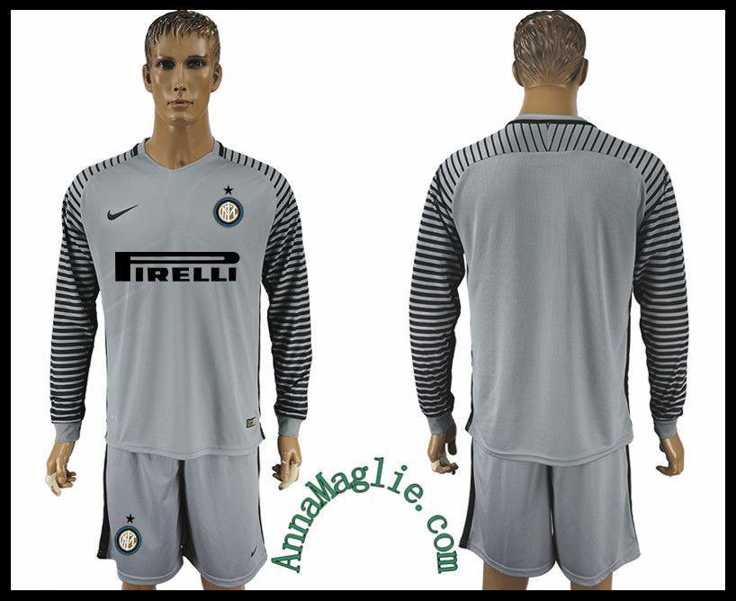 maglie italia prezzo 2016-2017 Inter Milan Gray manica lunga ...
