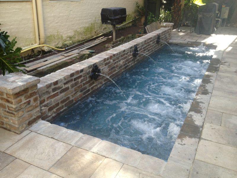 Therapy Pool With Brick Wall Crystal Pools And Spas Small Backyard Pools Rectangular Pool Backyard Pool