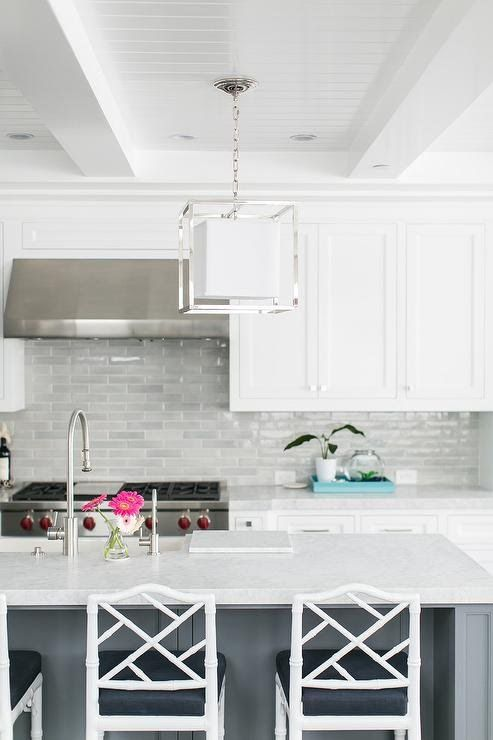 Light Gray Kitchen Backsplash Tiles With White Shaker Cabinets