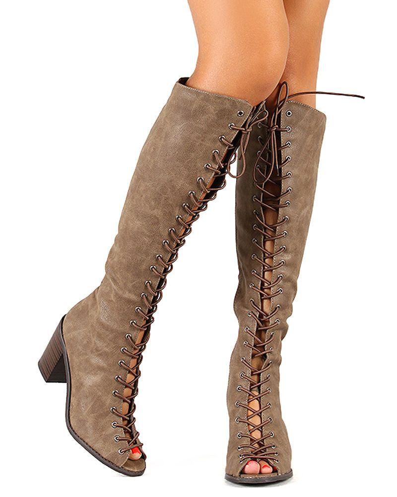 Breckelles Tina-14 New Women Peep Toe Lace Up Chunky Heel Knee ...