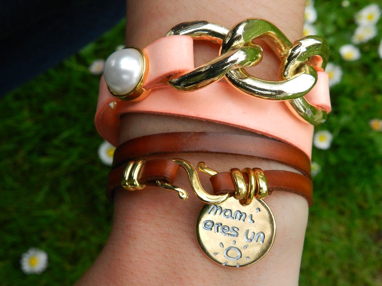 Pulsera lato, cadena y perlas...