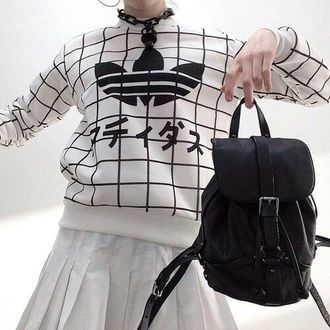 sweater white top adidas sweater kawaii black and white grunge grid adidas  black white japanese fashion korean fashion kfashion jewels black backpack  ... 0bf227f5c9a2a