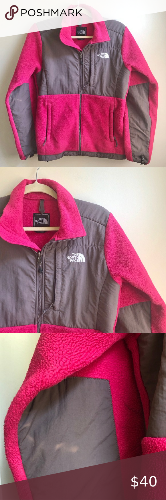 The North Face Pink Gray Denali Fleece Great Condition Minor Discoloring In Back Of Right Elbow Pictured Bright Magenta The North Face Pink Grey Fleece [ 1740 x 580 Pixel ]