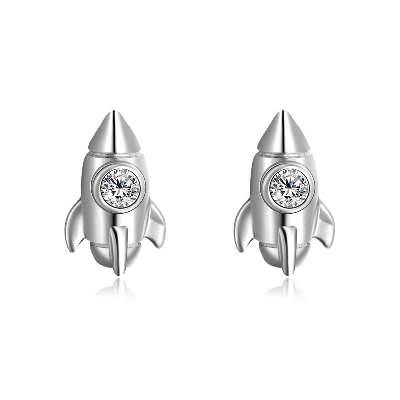 Space Shuttle Rhinestone Sterling Silver Stud Earrings