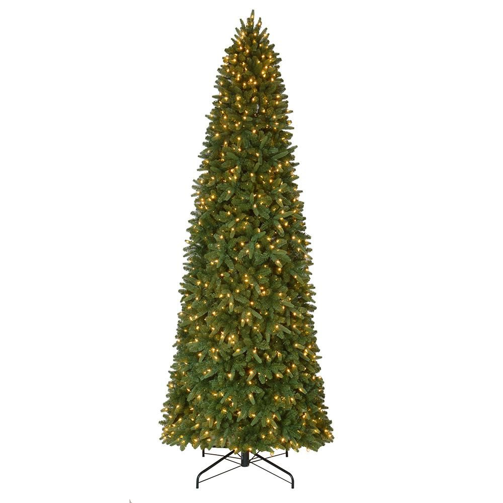 12 Ft Pre Lit Led Sierra Nevada Slim Artificial Christmas Tree With 900 Warm White Lights Slim Tree Slim Christmas Tree