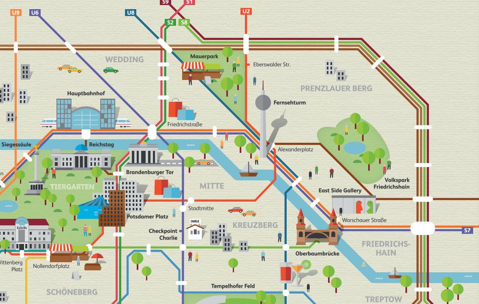Cartina Parigi Con Monumenti E Metro.La Mappa Delle Attrazioni Turistiche Di Berlino Ricalcata Su Quella Della Metropolitana Berlino Magazine Berlino Mappa Brandeburgo