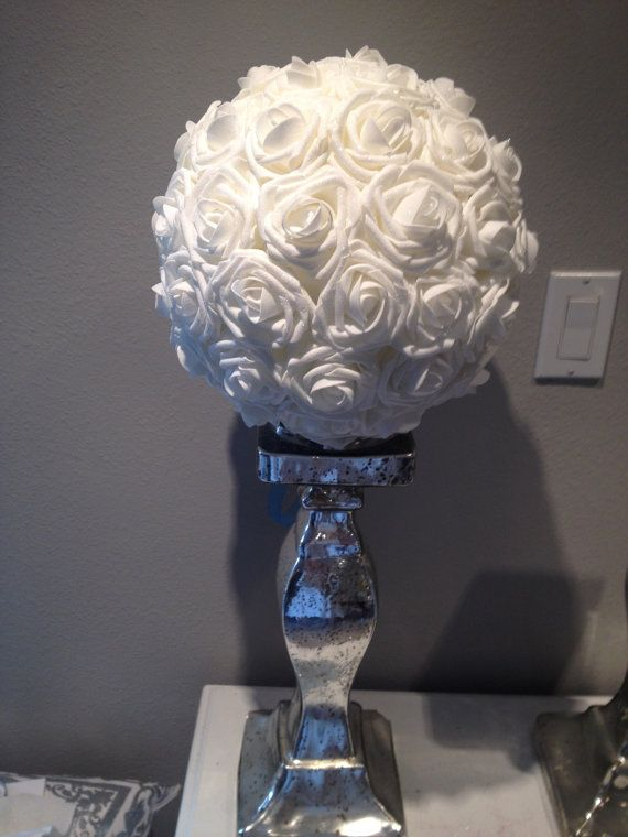 Elegant 10 Wedding White Foam Flower Ball Wedding By Kimeekouture 45 00 Flower Ball Centerpiece Red Centerpieces Flower Ball