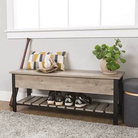 Modern Farmhouse Gray Wash Storage Bench with Shoe Shelf by Manor Park - Walmart.com