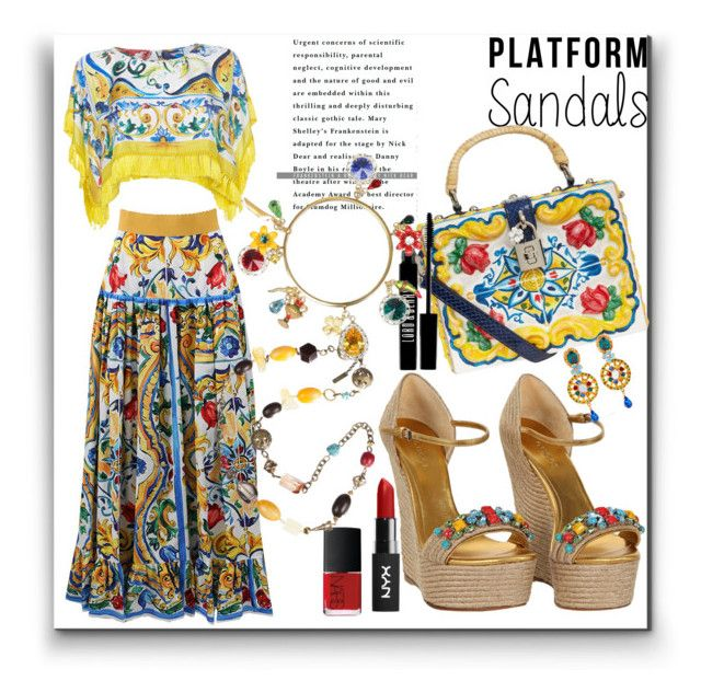 """""""Platform Sandals"""" by marionmeyer on Polyvore featuring Gucci, Dolce&Gabbana, NARS Cosmetics, Lord & Berry and platforms"""