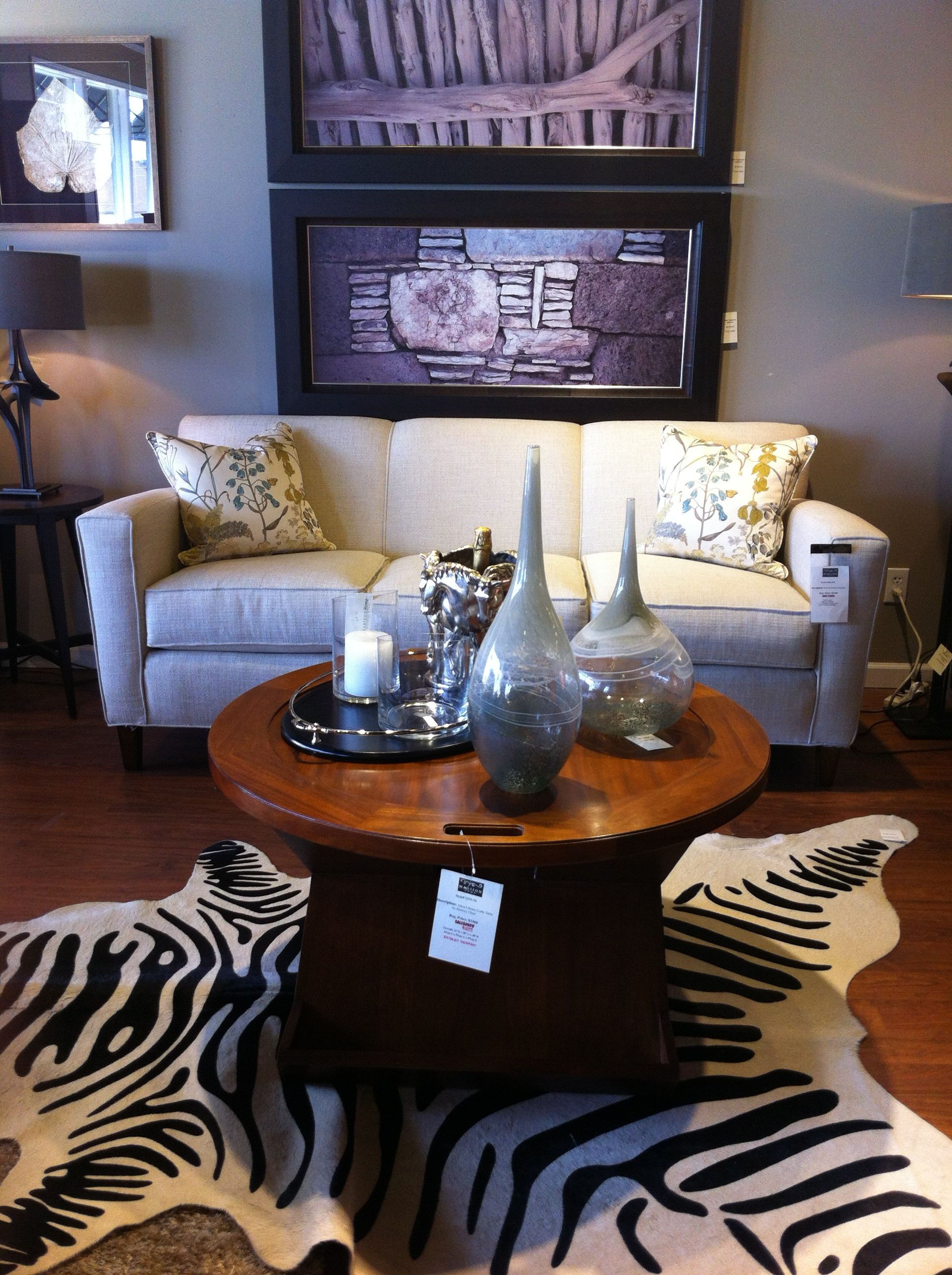 Sofa, table by Hickory Chair, wall art by Roma Harden