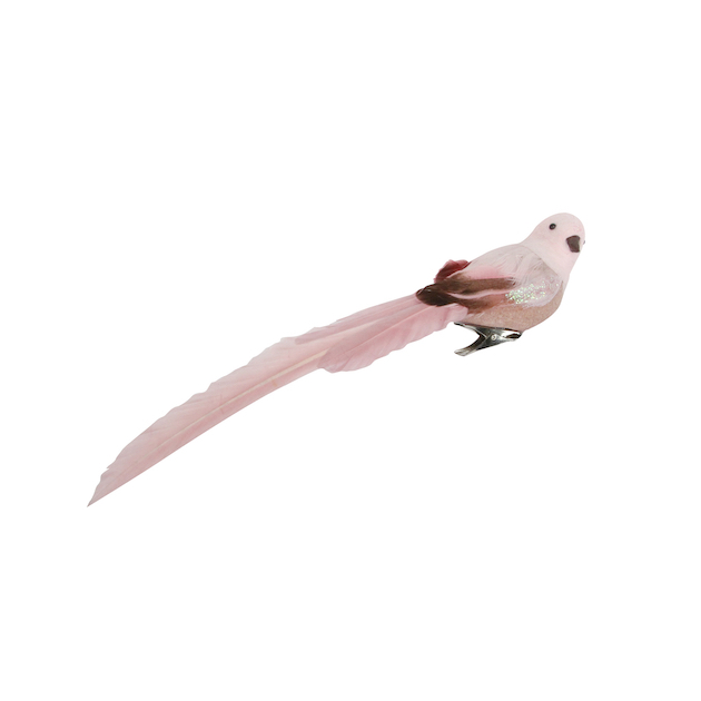 Gisela Graham Pink Glitter//Feather Clip On Bird Christmas Tree Decoration