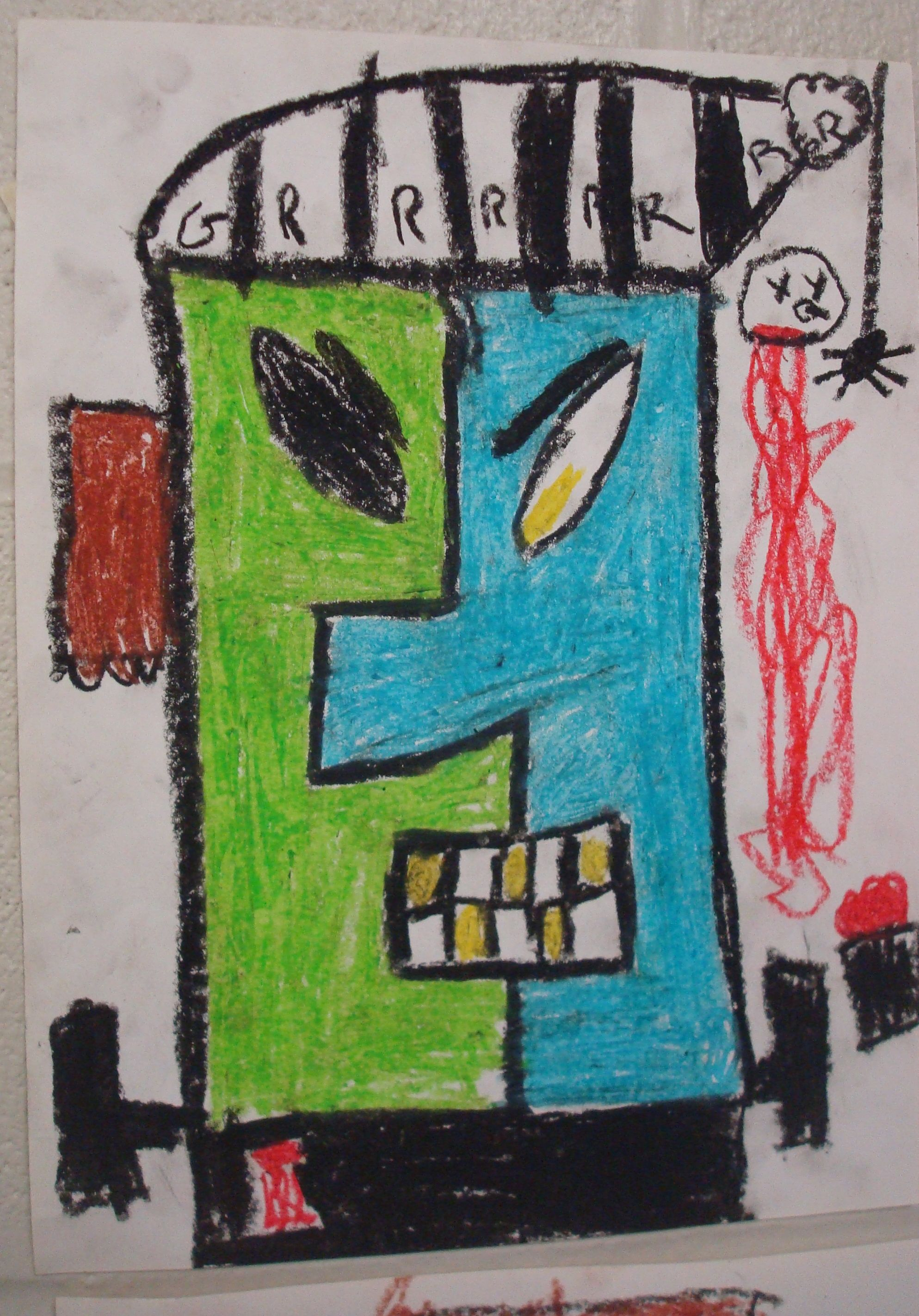 Oil pastel Picasso Halloween Art. I love this pirate one of the children in grade 3 drew.