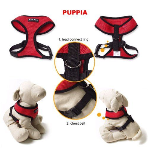 Amazon Com Puppia Soft Dog Harness Red Small Pet Leashes