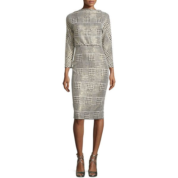 Badgley Mischka 3/4-Sleeve Metallic Houndstooth Blouson Dress ($445) ❤ liked on Polyvore featuring dresses, three quarter length sleeve dresses, houndstooth dress, badgley mischka dresses, 3/4 sleeve white dress и white three quarter sleeve dress