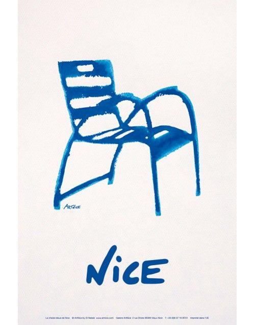 Affiche Illustration La Chaise Bleue Nice Cote D Azur Jpg Chaise Bleu Cote D Azur Nice Cote D Azur