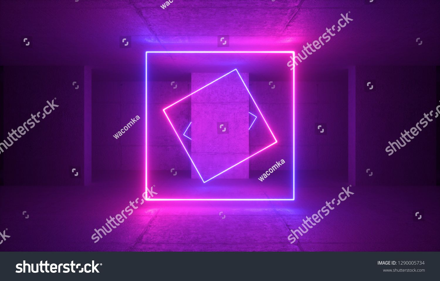 3d Rendering Neon Light Abstract Ultraviolet Background Blank