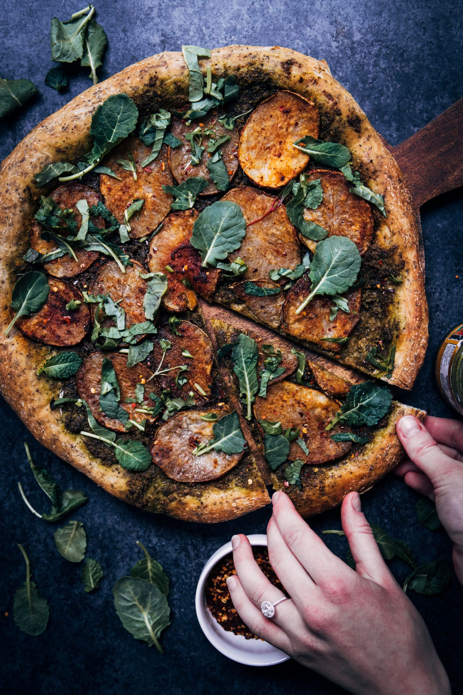 Vegan Potato Pesto Pizza