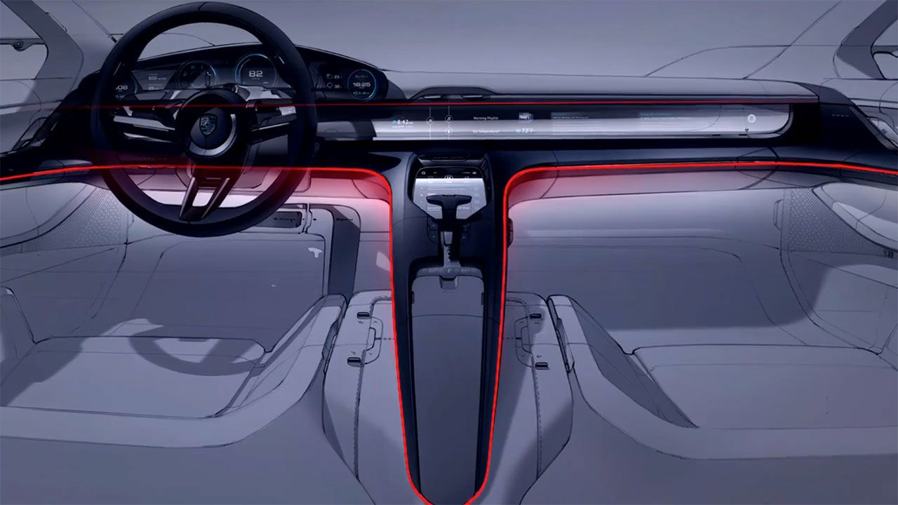 Porsche mission e concept interior design sketch render