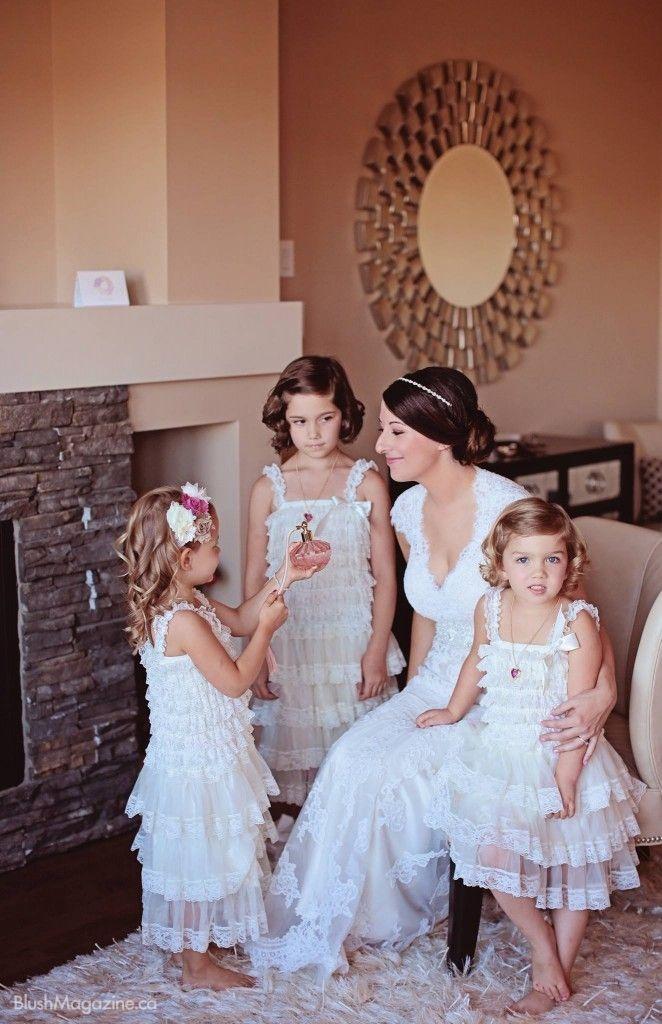 Kathryn Mareks Whimsical Vintage Wedding The Bride And Her Flower Girls
