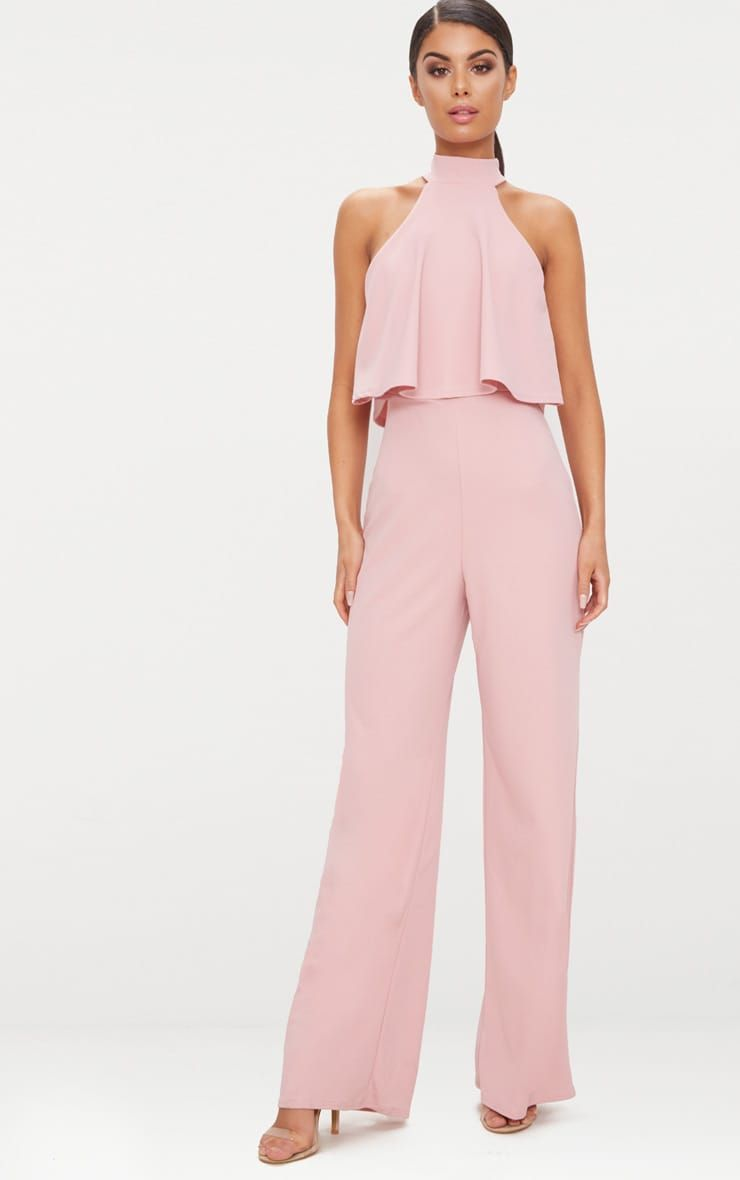 Dusty Pink High Neck Double Layer Jumpsuit Classy Jumpsuit Jumpsuit Dressy Jumpsuit For Wedding Guest