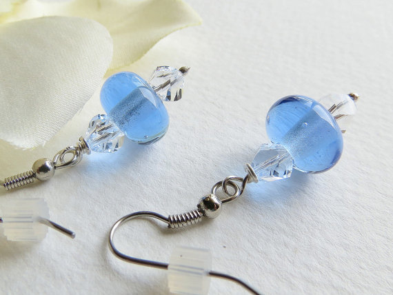 Dangle Earring Transparent Blue Lampwork Beads and by Smokeylady54