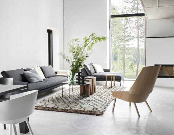 salon design scandinave pas cher avec fenetre grande et un salon d esprit loft tapis beige canape gris - Quel Tapis Avec Canape Gris