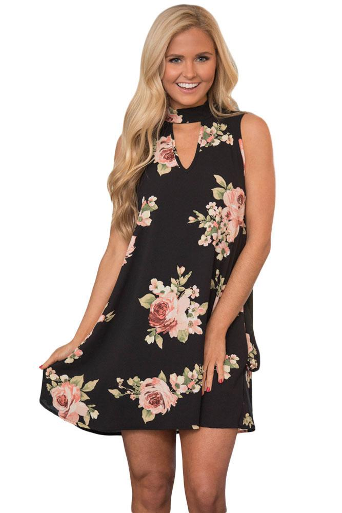 V Cut out Blooming Floral Print Black Background Dress  4b15e3ff6