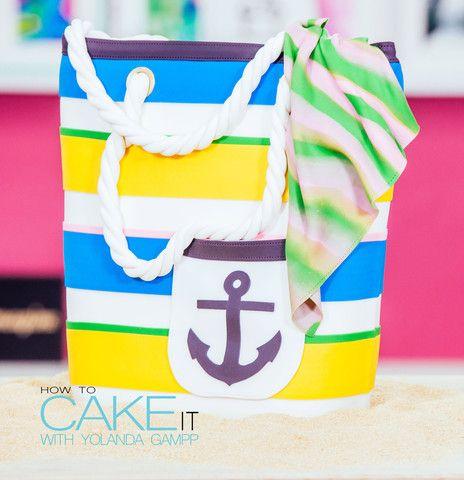 Chocolate & Vanilla Beach Bag Cake for LaurDIY stuffed with ...
