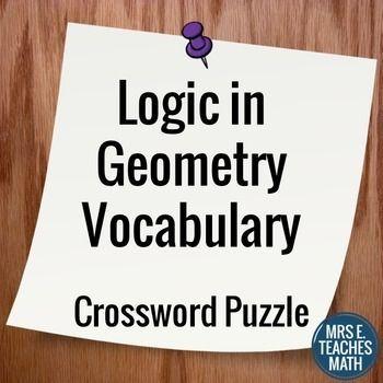 Logic In Geometry Vocabulary Crossword Puzzle TpT Math