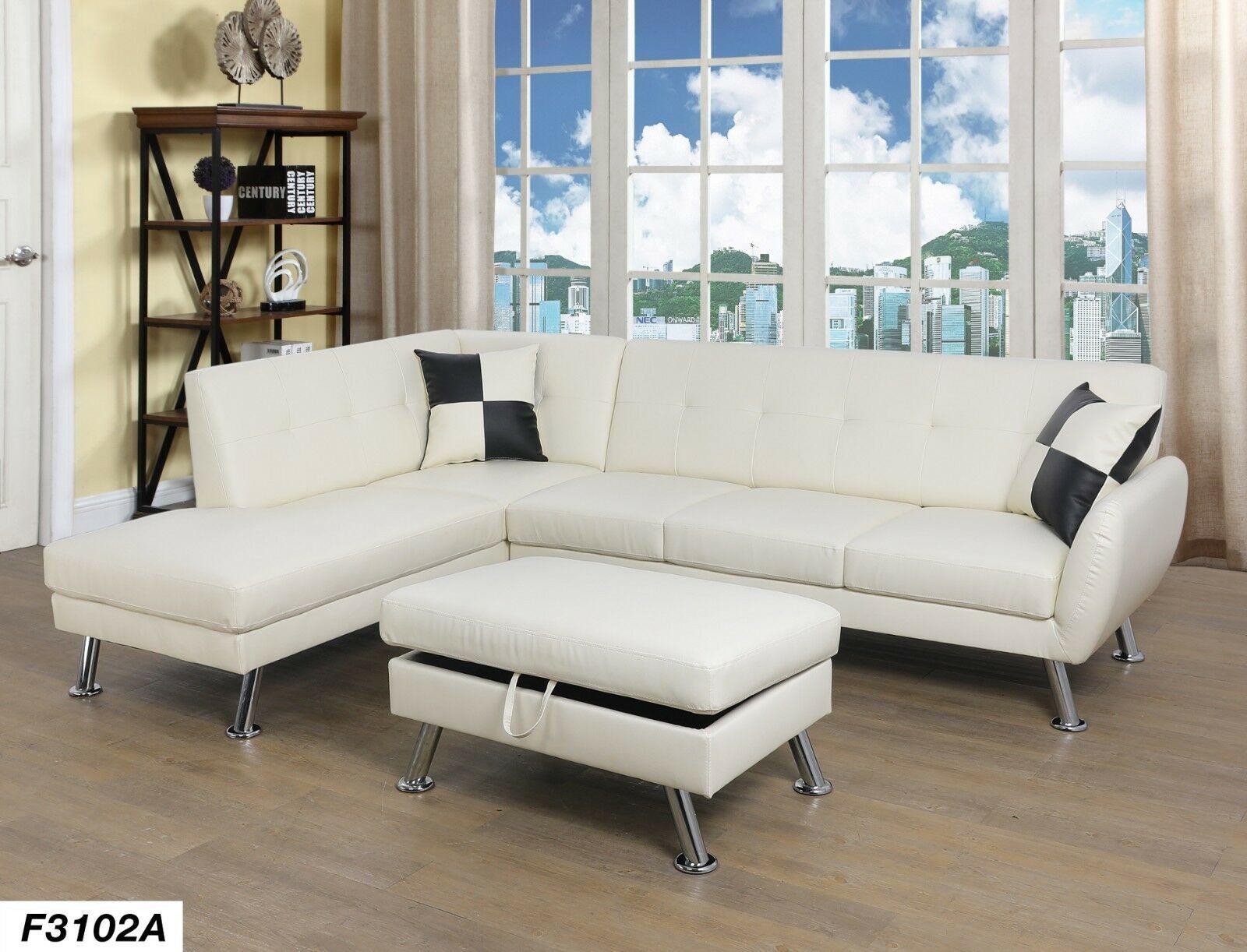 Lifestyle Furniture 3pc Sectional Sofa Set With Free Ottoman2 Pillows White White Sofa Ideas Of White Sofa Sectional Sofa Faux Leather Sectional Sofa Set