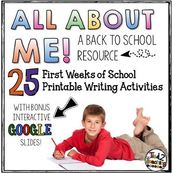 All About Me Back to School Writing Printables that can be printed and used as standard worksheets OR they can be filled out on Google Drive to add technology and save ink! #tied2teaching