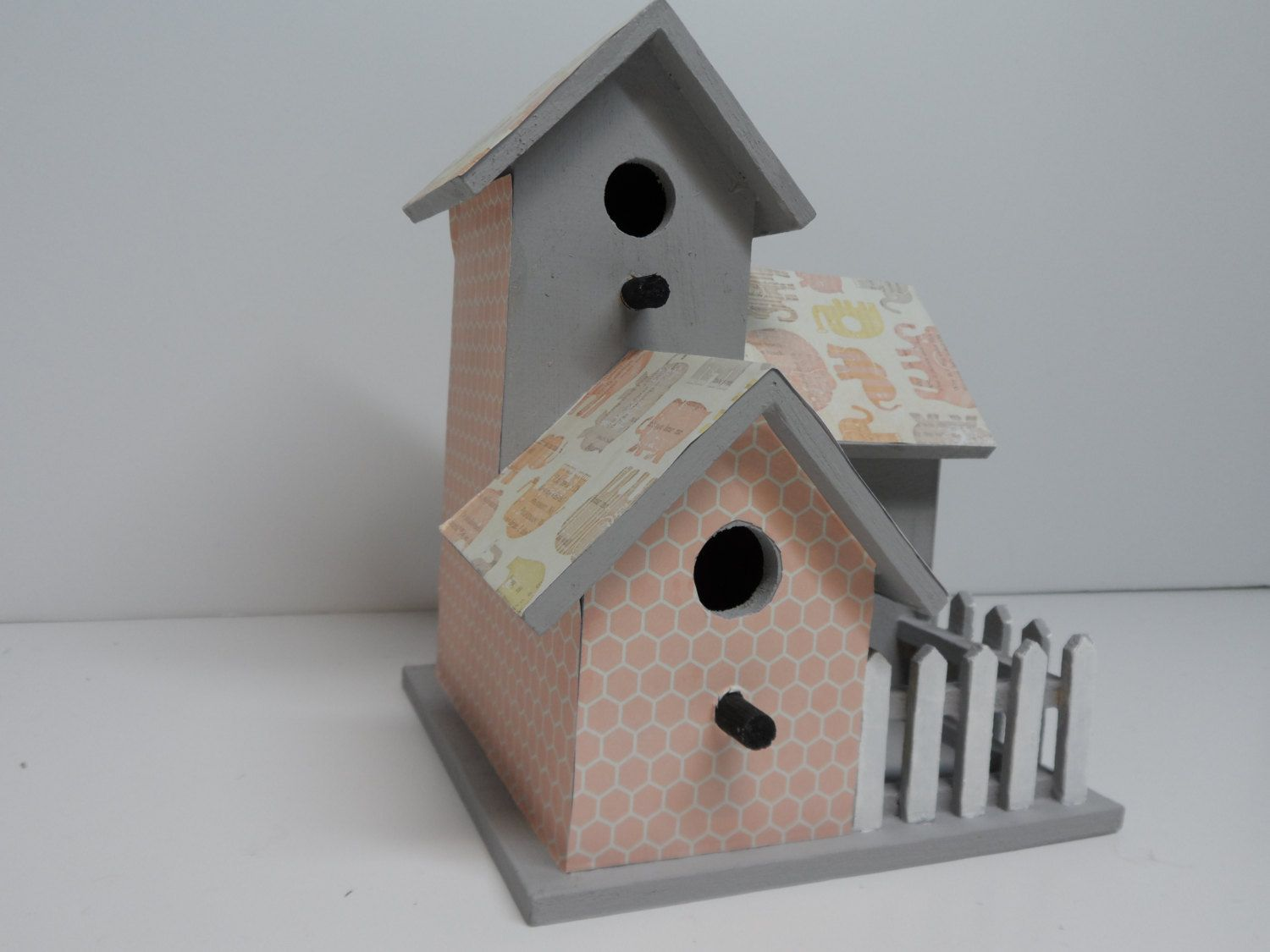 Birdhouse, Decorated Birdhouse with fence, Decorative Bird house, Gift item, Collectable Bird