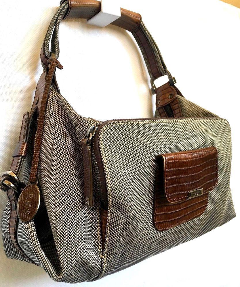 663d8c66c096 Authentic TOD'S Alligator Lizard Leather Canvas Handbag Shoulder Bag ...