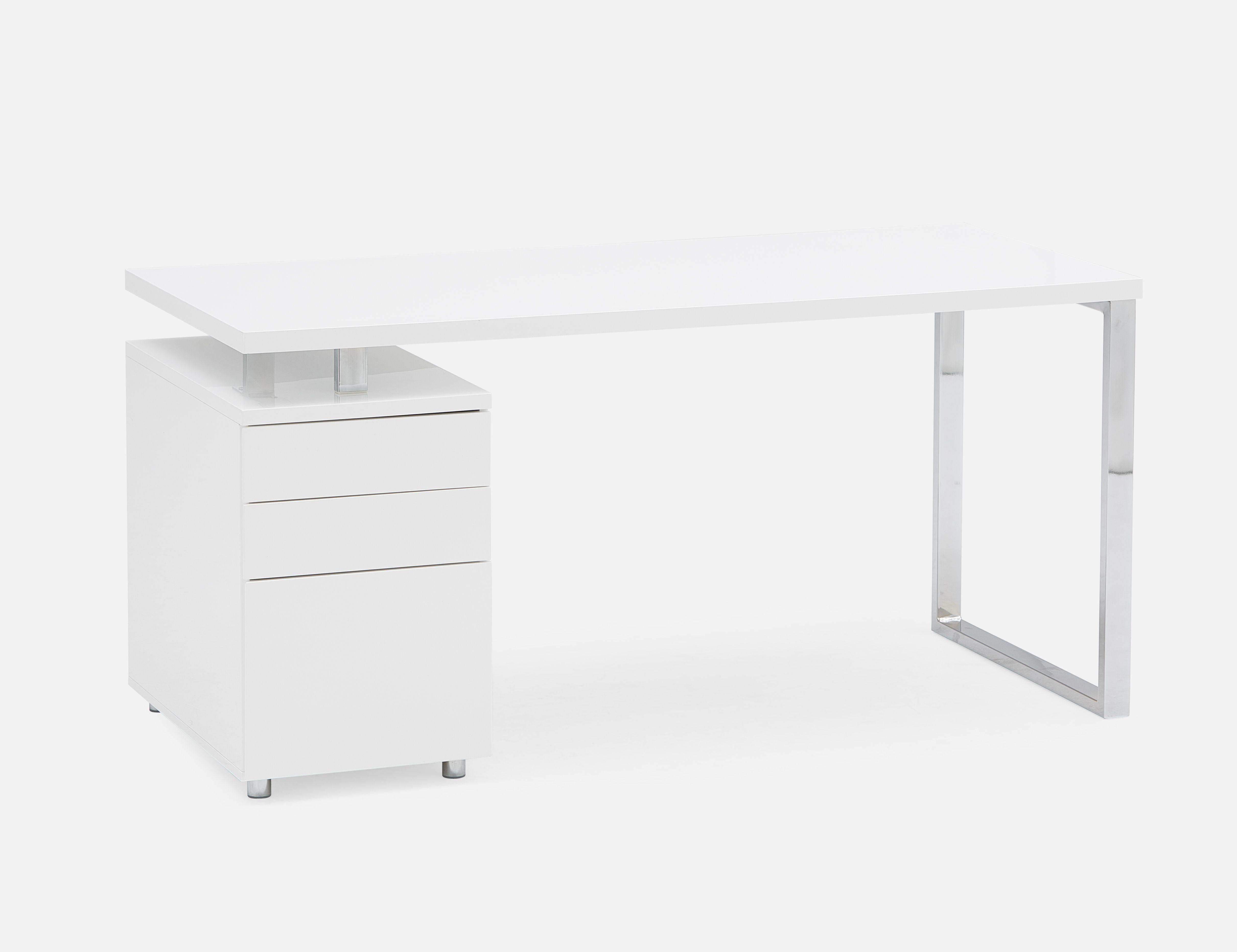 White Lacquered Desk With Storage Cabinet Desk 160cm 63