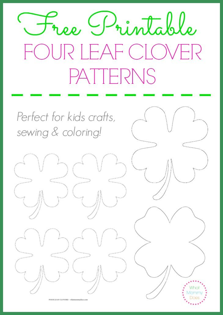 Free Printable Four Leaf Clover Patterns | Pinterest | Leaf clover ...