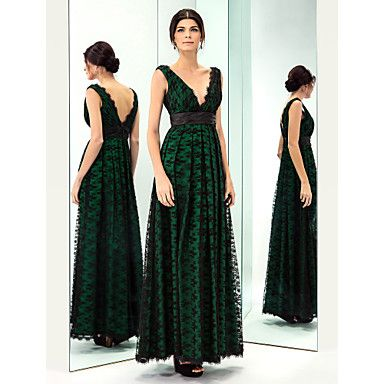 863087a0a595 TS Couture Prom   Military Ball   Formal Evening Dress - Dark Green Plus  Sizes   Petite A-line V-neck Floor-length Lace   Taffeta – USD   119.99
